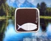 """Fishing Patch - Iron or Sew On 2.5"""" - Embroidered Square Appliqué - Brown Outdoor Recreation Activity Park Sign - Hat Bag Accessory"""