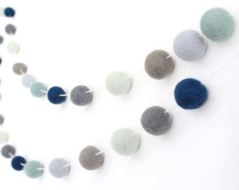 Deep Blue Sea Nursery Garland- Nautical Nursery- Felt Ball Pom Pom Garland- Navy Gray Mint Nursery Decor- Boy Nursery Decor- Gender Neutral