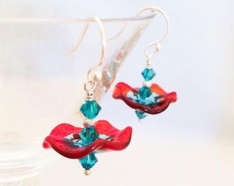 Ruffle Glass Earrings - Aqua Red Glass Earrings - Wavy Glass Earrings - Red Aqua Glass Earrings - Wavy Disc Earrings