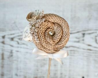 Rustic Groom's Boutonniere // Burlap Flower Pin, Ivory Fabric Flower, Vintage Book Flower, Dried Flowers, Men's Wedding Flower, Groom Bridal
