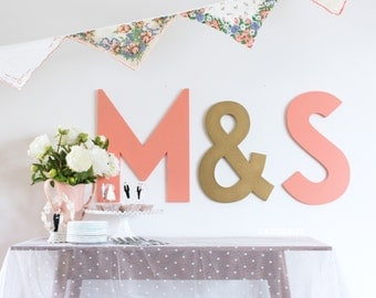 Set/3 Wedding Letters Cutout Signs - Bride and Groom Initials - Modern Wedding Monogram Letters - Wooden Cutout Letter Set Party Decorations