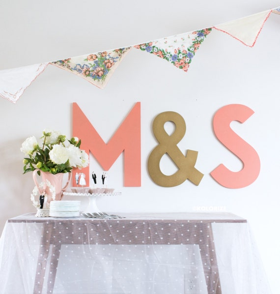 Set 3 Wedding Letters Cutout Signs Bride and Groom Initials