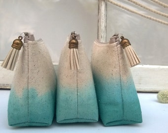 Set of 4 - Teal Ombre Clutch Purses, Bridesmaid Gifts, Wedding Clutches, Bohemian