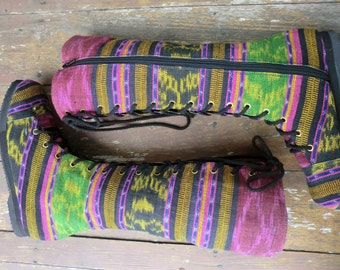 Vegan Womens Boots In Colorful Hand Woven Authentic Ikat Boho Boots - Sadie