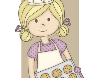 Baker Cutie Pie - 8x10 Art Print - baking, pastry chef, cooking, kitchen, cookies, made with love, kitchen art, girl, woman, chef, food
