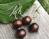 Yogi inspired brown wood mala bead simple earrings on sterling silver hooks