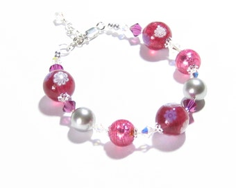 Murano Glass Pink Millefiori Ball Sterling Silver Bracelet, Venetian Glass Jewelry, Lampwork Glass Bracelet, Gifts For Her, Toggle Bracelet