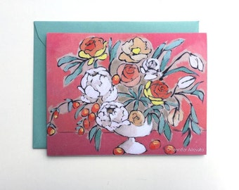 Floral notecard coral citrus flower vase pretty stationery