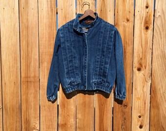 1980s MED dark blue denim bomber pleated jacket