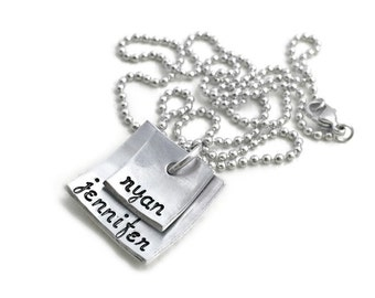 Stamped Custom Square Domed Stack Names  Aluminum Necklace- Hand Stamped Jewelry - Personalized Jewelry - Engraved Jewelry