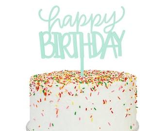 Aqua Frost Happy Birthday Cake Topper