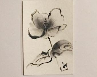 Drawing, ink drawing, Japanese art, mini art, mini drawing, flower drawing, flower art, gift under 50, mini flower, art, Hibiscus mutabilis