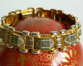 Elegant Black & Gold Arabesque Motif Damascene Style Link Bracelet- Chunky Geometric Spain 1940s 1950s Retro Exotic Ethnic Glamour