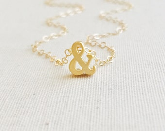 Gold Ampersand Necklace, Ampersand Symbol Necklace, And Symbol Sign Charm, Ampersand Necklace, Layering Necklace, Birthday Gift