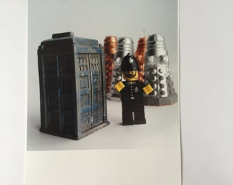 T A R D I S   color photograph  11X 11 square  LeGO  dr. who   tribute home decor   photo wall art