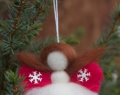 Christmas Angel. 'the littlest angel on the christmas tree' decoration, snowflake/design in red/natural/merino