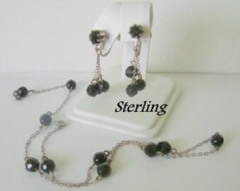 Vintage Sterling Black Glass Bead Necklace & Earrings / Chandelier / Demi Parure / Screw Backs / Jewelry / Jewellery