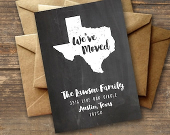 Chalkboard Moving Announcement Printable - Texas State Map - New Address