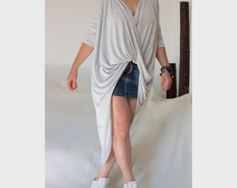 Twist V Neckline Top Wrap Asymmetric Shirt XXL  XXXL Hi Low Hem Tee Tunic Front Cross Tunic Drap Shirt  Wide Loose Top Long Sleeves Tunic