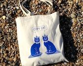 Cat Tote Bag Copy Cat Tote Cotton Shopper Blue Cat Bag Screen printed Tote Kitten Bag Cute Cat Tote Bag Cat Lady Funny Cat Bag
