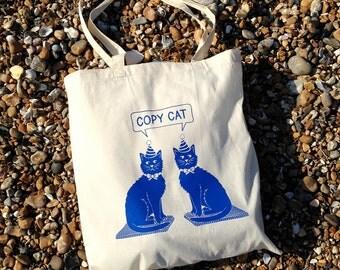 Cat Tote Bag, Copy Cat Tote, Cotton Shopper, Blue Cat Bag, Screen printed Tote, Kitten Bag, Cute Cat Tote Bag, Cat Lady, Funny Cat Bag