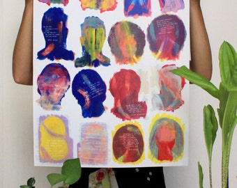 Portraits of Feminists Gouache Heads Poster