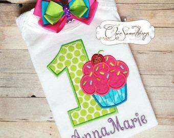 Birthday Girl Shirt, Cupcake shirt, birthday cupcake shirt, first birthday shirt, cupcake birthday, pink cupcake tutu, birthday girl shirt