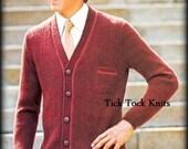 No.421 PDF Vintage Knitting Pattern Teen Boy's & Men's Button Tab Cardigan Sweater - 1960's Retro Knitting Pattern - Instant Download