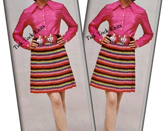 No.436 Crochet Pattern PDF Vintage Women's Rainbow Retro Crochet Skirt - Boho Crochet Pattern - Bohemian - Instant Download