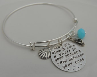 Custom Expandable Bangle Bracelet - May you always have a shell in your pocket and sand between your toes - Hand Stamped - Sterling Silver