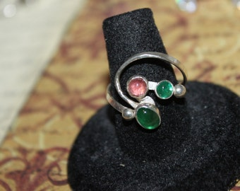 Unique Sterling Wire Wrapped Pink & Green Jelly Belly Ring