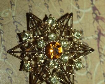 Vintage Star Rhinestone and Citrine Brooch