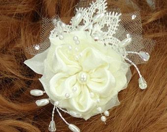 Wedding Hair Flower, Satin Lace Hair Pin, Flower Bobby Pin, Wedding Accessories
