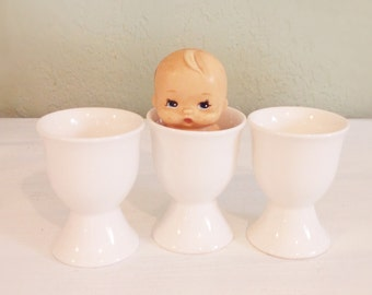 Vintage Egg Cups, All White Glazed Ceramic, Cottage Decor