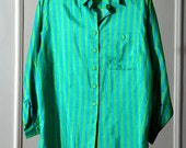 Vertical Striped Bright Green and Teal Silky 80s Button Up Shirt