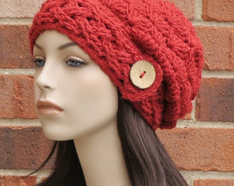 Crochet Hat Womens Slouchy Beanie Cabled Hat Womens Red Slouch Hat Winter Accessories // THE AISLINN // Spice Red Orange