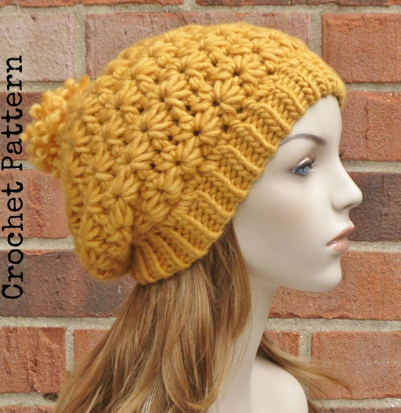 CROCHET HAT PATTERN Instant Pdf Download - Stella Slouchy Star Beret ...
