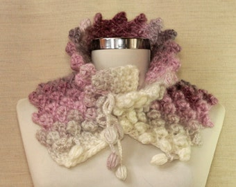 Chunky Cowl, Chunky Infinity Scarf, Knit Scarf, Women Cowl, Alpaca Merino Wool Chunky, Winter Cowl Scarf, Pink Grey Knit Loop Scarf / Gift