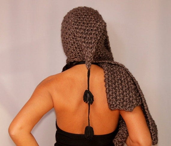 Chunky Hooded Scarf, Charcoal Gray Black Knit Cowl Hood, Pure Wool Chunky Hood Scarf, Soft Warm Scarf Hat with Leather Fringes Gift For Her