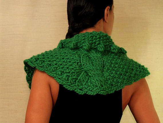 Knit Cape, Chunky Cape, Knit Poncho, Crochet Cape, Shoulder Shawl, Shrug Bolero, Collar Scarf, Cable Knit Cape Cloak, Green Wool Cowl Scarf