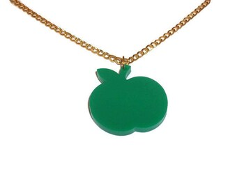 Green Apple Necklace, Cute Fruit Jewelry, Quirky Kitsch Laser Cut Acrylic