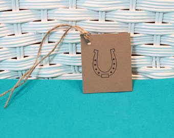 Hand Stamped Set of 8 Horseshoe Tags