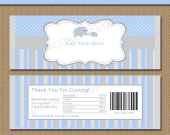Baby Shower Chocolate Bar Wrappers - Blue Gray Elephant Candy Wrappers - Printable EDITABLE Candy Labels - Baby Shower Party Favors Gifts