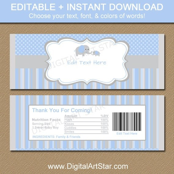 Baby shower chocolate bar wrappers blue gray elephant candy for Candy bar wrappers template for baby shower printable free