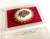 Petit Point Vintage Austrian Brooch in Original Box
