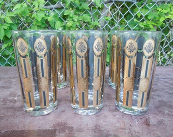 "Drinking Glasses Set of Six Vintage Black and Gold Paneled 5 1/2"" Tall Retro Barware"