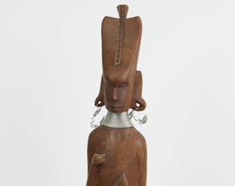 Vintage Abstract Tribal Warrior African Folk Art