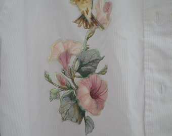 light pink long sleeved Las Olas polyester cotton womens size Large with hummingbirds. use coupon code FIFTYOFFSALE for 50% off