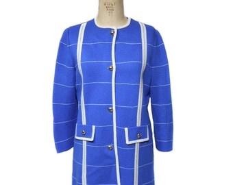 vintage 1960s knit jacket / Marco Polo / blue white / stripes / tunic jacket / virgin acrylic / women's vintage jacket / size 14