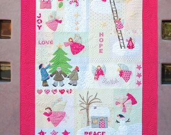 Angels: Applique quilt, printed pattern, Christmas Quilt